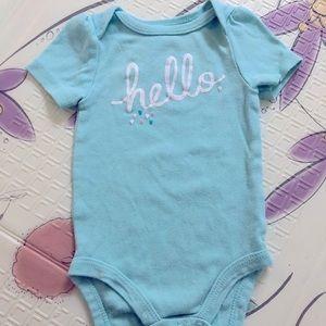 Hello & Hearts - Light Blue Baby Onesie 3-6M